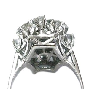 Fine Round Cut Diamond Cluster White Gold Jewelry Ring 14KT 3.16CT