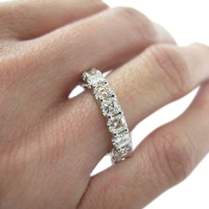 14K White Gold Asscher Cut Diamond Eternity Ring