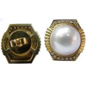 14K Yellow Gold Mabe Pearl Diamond Earrings