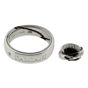 Damiani 18K White Gold & 0.02ct Diamond Orbital Ring Size 7