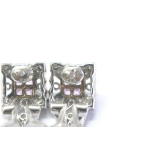 18K White Gold Diamond, Sapphire Earrings