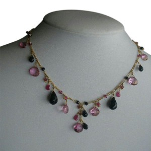 Laura Gibson 22K Yellow Gold Black & Pink Tourmaline, Onyx, Rubellite and Topaz Necklace