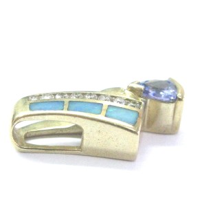 14K Yellow Gold Diamond & Tanzanite Opal Pendant