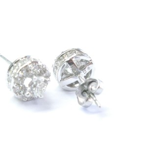 14K White Gold & Diamond Stud Earrings