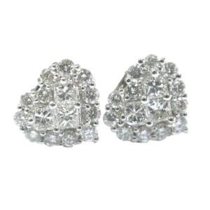 18K White Gold Heart Shape Diamond Invisible Setting Stud Earrings