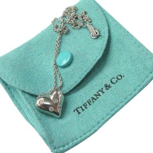 Tiffany & Co. 950 Platinum & 0.15ct Diamond Heart Pendant Necklace