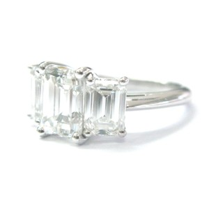 Tiffany & Co Platinum 3-Stone Emerald Cut 4.10ct Diamond Ring
