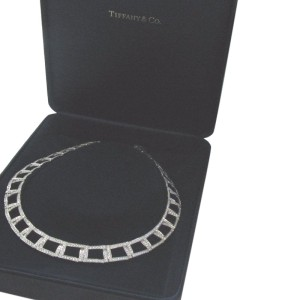 Tiffany & Co Platinum Open Square Diamond Necklace