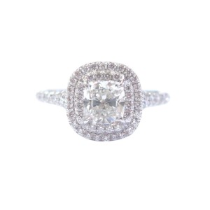 Tiffany Co Platinum Cushion Cut Diamond Soleste Engagement Ring Size 5 75