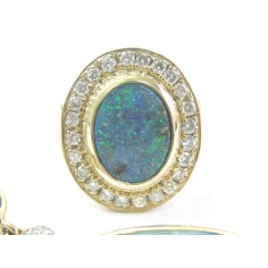 14k Yellow Gold Fine Boulder Opal Diamond Yellow Gold Set Necklace/Ring/Charms