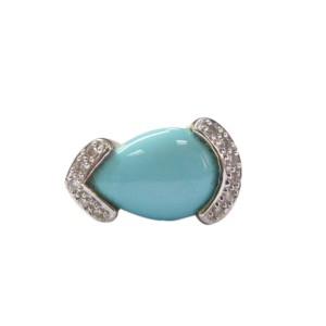 LeVian Turquoise Yellow Gold 14KT .10CT Diamond Jewelry Ring