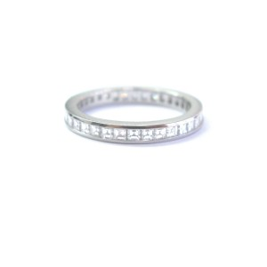 Tiffany & Co Platinum Asscher Square Step Cut Diamond Eternity Band Ring