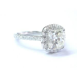 Ritani Platinum Diamond Halo Engagement Ring Size 6.5