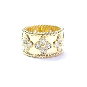 Van Cleef & Arpels 18K Yellow Gold Perlee Clover Diamond Band Ring Size 5