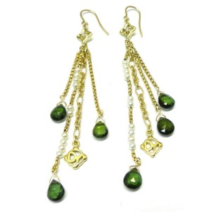 David Yurman 18K Pearl Tourmaline Diamond Earrings