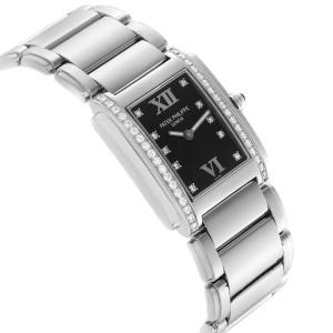 Patek Philippe Twenty-4 Black Diamond Dial Bezel Ladies Watch 4910