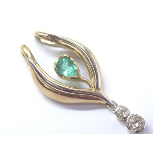 14K Multi-Tone Gold Gem Green Colombian Emerald 2.05ct. Diamond Drop Pendant