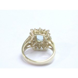 14K Yellow Gold Gem Aquamarine Diamond Ring