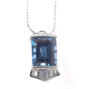 14K White Gold Blue Topaz Diamond Pendant Necklace