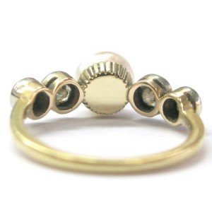 Fine Old European Cut .70 ct Diamond Pearl Anniversary Ring