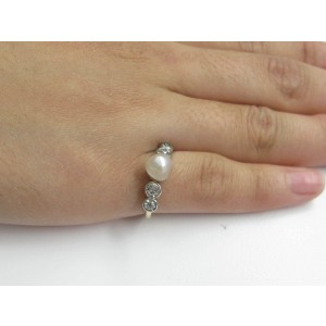 Fine Old European Cut .70 ct Diamond Pearl Anniversary Ring
