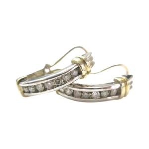 14K Fine Multi-Tone Gold Huggie 0.84 ct Diamond Earrings