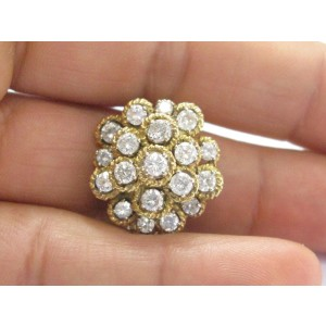 18K Yellow Gold 2.28 ct. Diamond Cluster Circular Ring