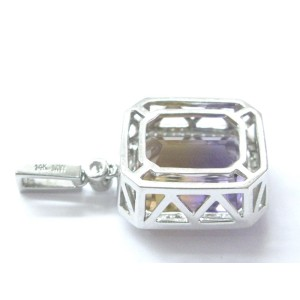 White Gold Fine Gem Ametrine Diamond Big Square Pendant