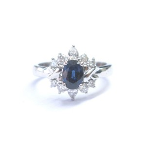 14K White Gold Gem Sapphire Diamond Anniversary Ring