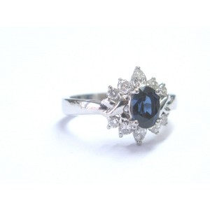 14K White Gold Gem Sapphire Diamond Anniversary Ring