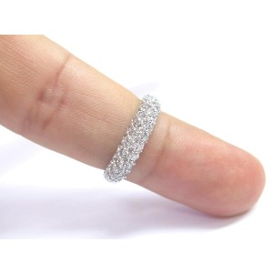 18K White Gold Round Cut Diamond Pave Square Ring