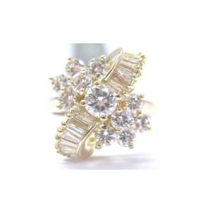18K Yellow Gold Round & Baguette Diamond Multi Shape Cluster Ring