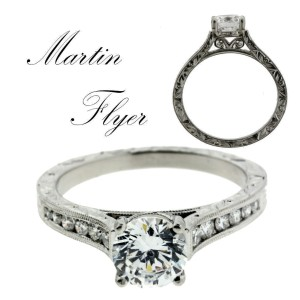 Martin Flyer VC06PL-AENGM engagement ring in Platinum fits 1 carat round.