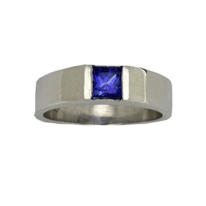 Platinum with 1.26ct Princess Cut Blue Sapphire Ring Size 10