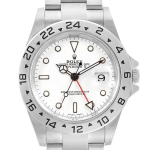 Rolex Explorer II White Dial Red Hand Steel Mens Watch 16570