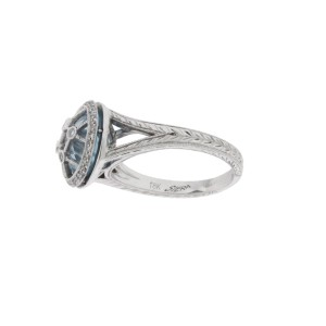 Siera 18K White Gold Wrapped Diamond And Blue Topaz Ring