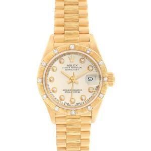 Rolex President Datejust 26mm Yellow Gold Diamond Ladies Watch 69288