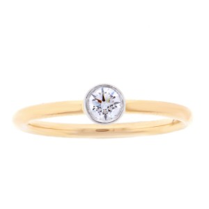 Tiffany & Co. 18K Rose Gold Band & Platinum Bezel Diamond Ring Size 6