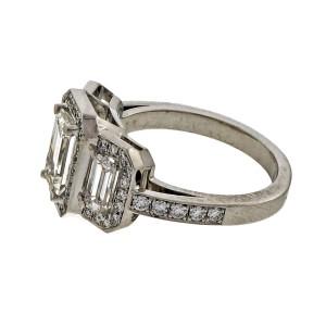 Triple Halo Emerald Cut Diamond Suchy .99ct Platinum Engagement Ring
