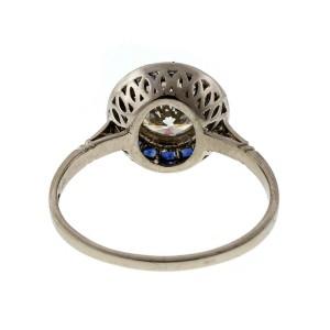 Vintage 1940 .95ct European Ideal Cut Platinum Engagement Ring Calibre Sapphires