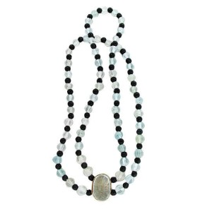 Vintage English 1920'S Art Deco Natural Carved Aqua 200ct Onyx 2 Strand Necklace