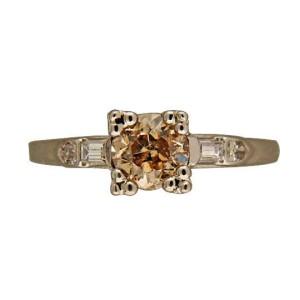 Vintage Antique Natural Emerald Cut Light Brown .80CT Diamond Platinum Ring