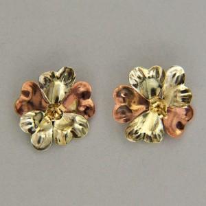 Retro Art Deco 12k &14k Pink Green White Gold Post Flower Earrings Circa 1925