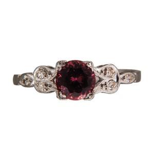 Vintage .98ct Raspberry Brown Orange No Heat Sapphire Diamond Platinum Ring