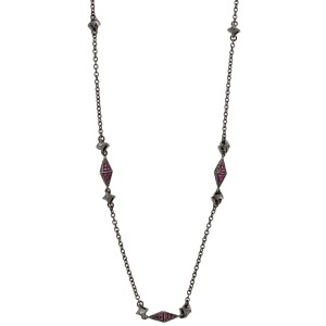 Stephen Webster 925 Sterling Silver Superstud Pave Ruby In Black Necklace