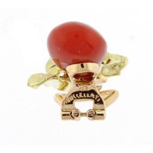 Buccellati 18K Yellow Gold Ox Blood Coral Gold Earrings