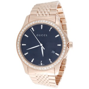bd6268bc443 Gucci YA126402 Rose PVD Coated Stainless Steel with Black Dial 38mm Mens  Watch