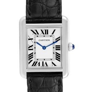 Cartier Tank Solo Steel Black Strap Ladies Watch W1018255 Box Papers