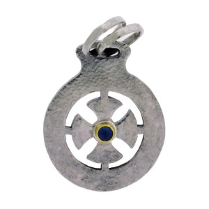 Gurhan 925 Sterling Silver With Yellow Gold Accent Raw Life Cross Sapphire Pendant
