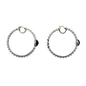 Stephen Webster Sterling Silver Superstud Grey Crystal Haze Hoop Earrings